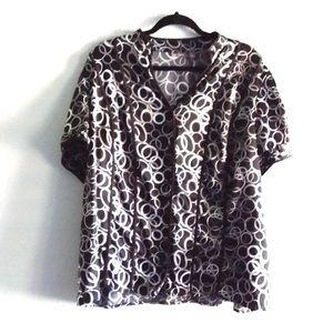 APT 9 women's black print button up blouse size-2X